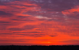 Beautiful fiery orange sky during sunset Royalty Free Stock Photography