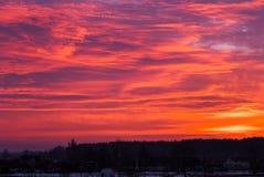 Beautiful fiery orange sky during sunset Stock Image