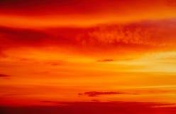Beautiful fiery orange sunset sky a. S background Stock Photo