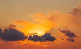 Beautiful fiery orange sunset sky Stock Image