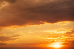 Beautiful fiery sunset sky. Royalty Free Stock Photography