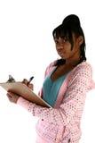 Beautiful Fifteen Year Old Tee. Beautiful African Amercian 15 year old Teen Girl with clipboard Stock Photos