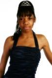 Beautiful Fifteen Year Old Tee. Beautiful African American 15 year old Teen Girl in formal dress and tiara Stock Images
