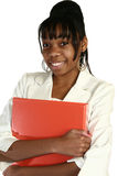 Beautiful Fifteen Year Old Tee. Beautiful African Amercian 15 year old Teen Girl in suit holding folder Royalty Free Stock Photo