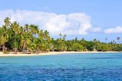Beautiful Fiji atoll island with white beach Royalty Free Stock Image