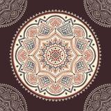 Beautiful filigree Indian floral ornament. Ethnic Mandala. Henna Royalty Free Stock Images