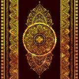 Beautiful filigree Indian floral ornament. Ethnic Mandala. Henna Stock Photo