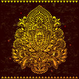 Beautiful filigree Indian floral ornament. Ethnic Mandala.  Royalty Free Stock Images