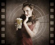 Beautiful Film Actress On Vintage Movie Screen Royalty Free Stock Images