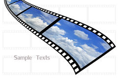 Beautiful film strip. Cloud and sky background on film strip Royalty Free Stock Images