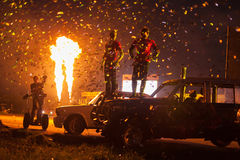 Beautiful final with confetti and fire on Festival of art and film stunt Prometheus. MOSCOW - AUG 25: Beautiful final with confetti and fire on Festival of art Royalty Free Stock Photo