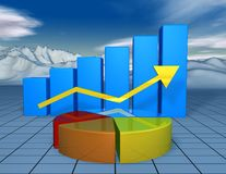 Beautiful financial 3d background with colorful charts. And landscape with blue sky Stock Photos
