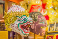 Beautiful fine art masks of Hua Khon, the Thai traditional mask for dancing performance. Khon is Thai traditional dance of the Ram. Ayana Epic Saga stock photo