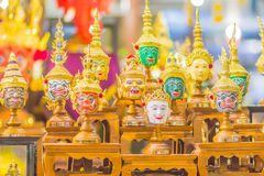 Beautiful fine art masks of Hua Khon, the Thai traditional mask for dancing performance. Khon is Thai traditional dance of the Ram. Ayana Epic Saga stock photos