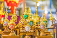 Beautiful fine art masks of Hua Khon, the Thai traditional mask for dancing performance. Khon is Thai traditional dance of the Ram. Ayana Epic Saga royalty free stock photos