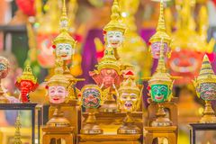 Beautiful fine art masks of Hua Khon, the Thai traditional mask for dancing performance. Khon is Thai traditional dance of the Ram. Ayana Epic Saga royalty free stock photo
