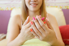 Free Beautiful Fingernail Manicure Acrylic Nail Polish Of Woman Royalty Free Stock Photos - 95487688