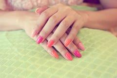Free Beautiful Fingernail Manicure Acrylic Nail Polish Of Woman Royalty Free Stock Photos - 95487738