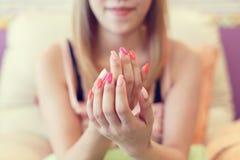 Free Beautiful Fingernail Manicure Acrylic Nail Polish Of Woman Royalty Free Stock Images - 96097909