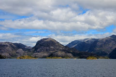 Beautiful fiord with mountains in the Bernardo O`Higgins National Park, Chile Royalty Free Stock Photo