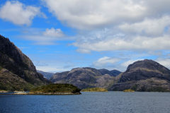 Beautiful fiord with mountains in the Bernardo O`Higgins National Park, Chile Royalty Free Stock Photos