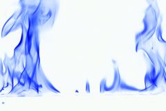 Blue smoke on white background. fire flame on white background stock photo