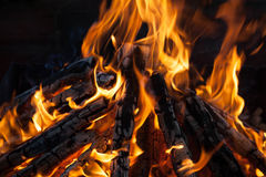 Beautiful fire with flames charred wood Stock Photo