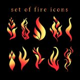 Beautiful  fire icon set Royalty Free Stock Photography