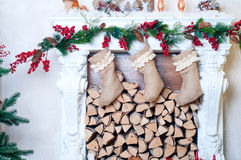 Beautiful fireplace decorated for Christmas Royalty Free Stock Photography