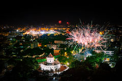 Beautiful firewokj night scene of new year count down in landmar Stock Photos