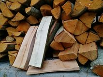 Beautiful firewood. Preparation of firewood for the winter Stock Image