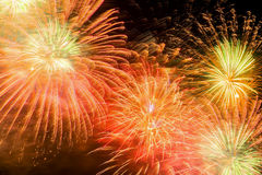 Beautiful firework as golden chrysanthemum, spherical break of colored stars, similar to a peony, but with stars that Royalty Free Stock Images