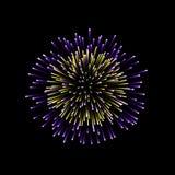 Beautiful firework. Couple romantic salute  on black background. Light decoration firework for Christmas, New. Year, Valentine Day celebration. Symbol of Royalty Free Stock Images