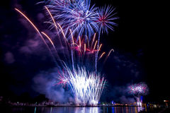 Beautiful firework display for celebration Happy new year 2016, Stock Images