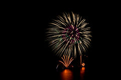 Beautiful firework display for celebration. On the river Royalty Free Stock Photos