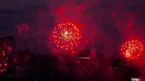 Beautiful firework at evening sky. Firework bursting over Novosibirsk City, 126-th City Birthday stock video footage