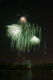 Beautiful firework in honor of the Moscow Victory Day Parade. Stock Photo