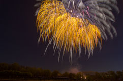 Beautiful firework in honor of the Moscow Victory Day Parade. Stock Photos