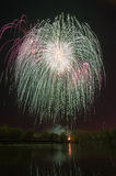 Beautiful firework in honor of the Moscow Victory Day Parade. Royalty Free Stock Photo