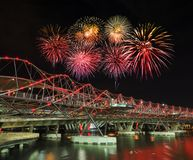 Beautiful firework over Helix Bridge in Singapore Stock Photos