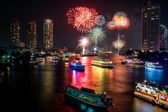 Beautiful firework over river stock photo