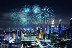Firework over Singapore cityscape Royalty Free Stock Photography