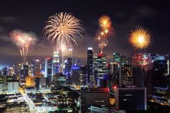 Firework over Singapore cityscape Royalty Free Stock Image