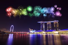 Firework over Singapore cityscape Stock Images