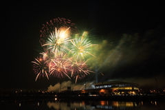 Beautiful firework over stadium Stock Image