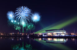 Beautiful firework over stadium Stock Photo