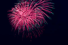 Beautiful firework over the water in the night sky Stock Photos