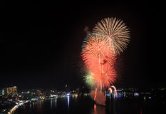 Beautiful firework at Pattaya beach, Thailand Stock Photo