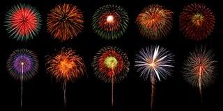 Beautiful firework set on black background Royalty Free Stock Images