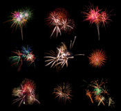 Beautiful firework set on black background. Very large resolution picture. Royalty Free Stock Image